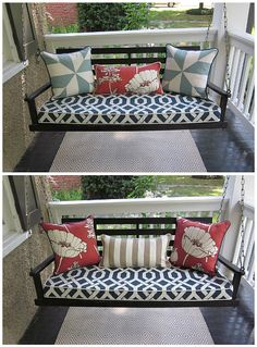 Black front porch swing with cushions/pillows.  Delightful!