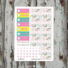 Bottom Washi & Date Stickers - Unicorn Spring Planner Sticker Kit - for use with Erin Condren Lifeplanner or Happy Planner TN bujo by planfantastic