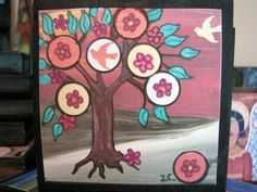 Print mounted on Wood 3 1/2 x 3 1/2 x 3/4  Tree of by icColors, $15.00