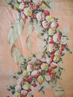 Charming Vintage Shabby Barkcloth Era Cotton Fabric by RuinsCa, $85.00