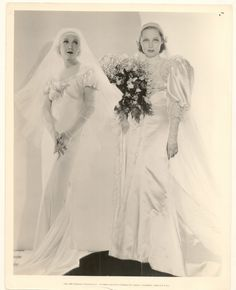 Brides Helen Twelvetrees (wearing Butterick 5299) and Adrienne Ames in Wedding Gowns | 1933