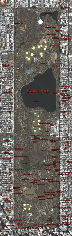 Map of Central Park & Vicinity  -- Central Park, New York City, New York    #education