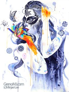 Flower - Mixed media illustration using markers, pens, crayons and acrylics by Seoul, South Korea artist Minjae Lee
