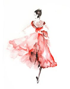 Watercolor Painting Art Print of Ballerina in Red, Ballet Watercolour Wall Art