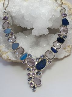 Artistic handmade Purple and Lavender faceted Amethyst necklace complimented by sapphire blue, turquoise and lavender-hued Australian Doublet Opals, set in 925-hallmarked sterling silver. Length: 16-2