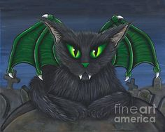 Bela Vampire Cat  - Fine Art America Pixels, Carrie-Hawks.Pixels.com Copyright - Carrie Hawks, Tigerpixie Fantasy Cat Art. More Prints, Jewelry & Gift Items featuring this image are available on my website - Tigerpixie.com