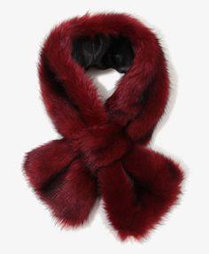 Burgundy faux fur scarf - $14.80