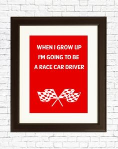 NURSERY DECOR When I grow up I want to be Race Car by IWantToBe, $15.00