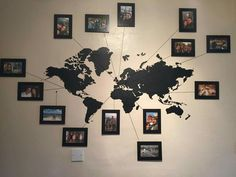 Wall sticker with photos of places visited
