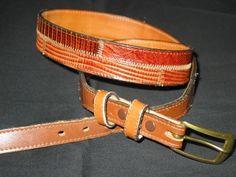 Womens Tony Lama Used Tan Brown LIZARD Belt 34