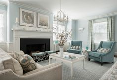 ***The perfect blue . . . Calming blue living room Farrow and Ball Borrowed Light