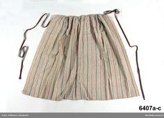 Flickförkläde i linne med kulörta ränder av bomull, Vemmenhög, ca 1790-1820. Nordiska Museet, nr. NM.0006407A-C