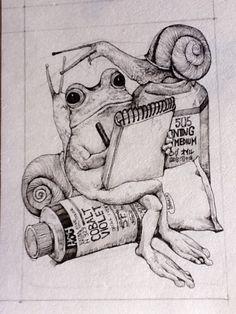 Snails & frog together. Art Sketches, Art Drawings, Dessin Old School, Frog Illustration, Frog Drawing, Frog Art, Art Graphique, Illustrations And Posters, Surreal Art