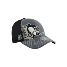 Reebok Pittsburgh Penguins 2012 Draft Flex Hat Charcoal Black (34 AUD) ❤  liked on Polyvore featuring accessories cd0ccab39a9