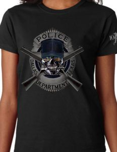 Dallas Police Women's Shirt is a subdued LEO design that illustrates the strength and determination of fighting criminals and lawlessness in the great city of Dallas, TX.
