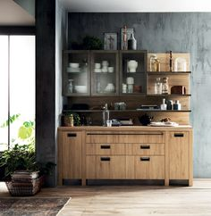 #Larder in Hub Oak decorative melamine for the Social Kitchen project by #Diesel and #Scavolini