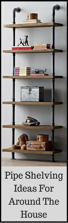 Media TV Industrial Pipe Solid Wood Shelf Unit Vintage Steampunk Style Books