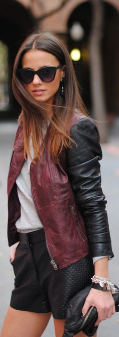 get this biker look with leather from lorees;