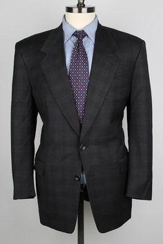 Canali Proposta Dark Grey Plaid Pure Wool 40 R mens Sport Coat #Canali #TwoButton