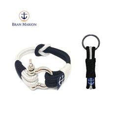 Bran Marion Black and White Nautical Bracelet and Keychain Nautical Bracelet, Nautical Jewelry, Marine Rope, Everyday Look, Handmade Bracelets, Jewelry Collection, Black And White, Accessories, Car Keys