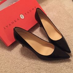 Ivanka Trump Leather pumps Black leather pointed toe heels. Size 7.5 in great condition. Many wears left in them! Perfect for a dinner party, business meeting and with a small enough heel that day to day walks are a piece of cake. Make me an offer! Ivanka Trump Shoes Heels