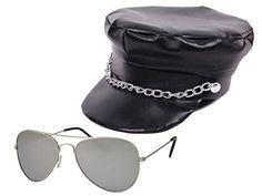 ... simili cuir + lunettes (KV-12) Casquette de rocker en simili cuir Avec  sa chaine metal au dessus de la visière.. Lunettes de soleil pilote police  ... f5151330a762