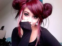 Cute hair insp - violet red + white streak & love the style