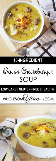 Bacon Cheeseburger Soup (Low Carb, Gluten-free) - This rich, comforting soup…