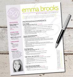 The Emma Resume Template Design - Graphic Design - Marketing - Sales - Customer Service - Medical - Teacher