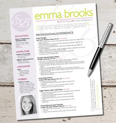 The Emma Resume Template Design - Graphic Design - Marketing - Sales - Customer Service - Medical - Teacher