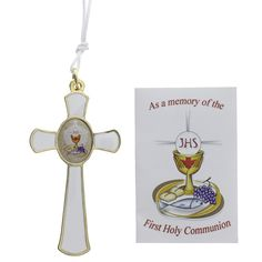 First Communion Pectoral Cross with Card,  $9.95. Great for groups! Made in Italy.