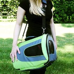 FurryGo Universal Collapsible Pet Airline Carrier - Lime Green - Medium