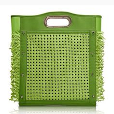 Pack all your summer essentials -racquet and all! - in the St. Tropez in Green. Green PVC body with Green Trim and Rattan Cover. #DeeOcleppo #DeeOcleppoBags #Spring2015 #PVC #Leather #Rattan #Raffia #Green #StTropez #Caribbean #Tennis #VersatileLuxury
