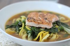 Garlic Ginger Zucchini Noodle Bowl with Salmon and Bok Choy