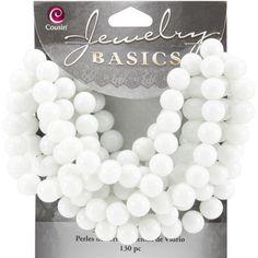 Jewelry Basics Glass Beads 8mm 130/Pkg-White Round Opaque - $3.39
