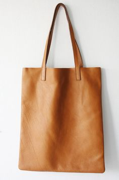 ANYA Basic Camel Brown Leather Tote Bag by MISHKAbags on Etsy