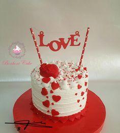 Valentines Cakes And Cupcakes, Valentine Desserts, Valentine Cake, Cupcake Cakes, Creative Cake Decorating, Cake Decorating Designs, Birthday Cake Decorating, Cake Decorating Techniques, Anniversary Cake Designs