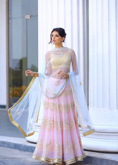Baby Pink and Gold Lehenga