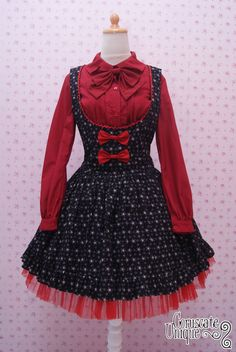 Black Star Lolita Dress and Red Long Sleeve by CoruscateUnique