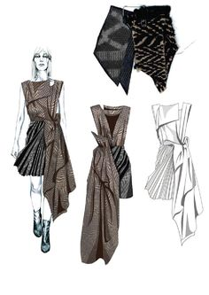 Fashion Sketchbook - fashion illustrations & fabrics; graduate fashion portfolio // Hannah Cook