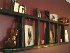 Old bunk bed ladder used as a shelf.