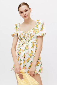 For Love & Lemons Emma Floral Mini Dress | Urban Outfitters Beauty Sale, Urban Dresses, For Love And Lemons, Fit And Flare, Urban Outfitters, Floral Tops, Fitness Models, Summer Outfits, Short Sleeve Dresses