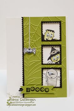 handmade Halloween card from Aimee's Creations: Little Ghouls ... black, white and spit pea green inchie windows with spooke googled-eyed trick-or-treaters ... embossed spiderweb background ... Stampin' Up!