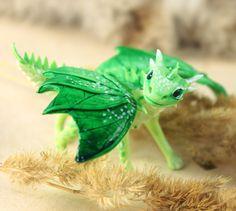 Little Dragon cute figurine green, forest, Earth dragon, fantasy art sculpture handmade - magic gif. $70.00, via Etsy.