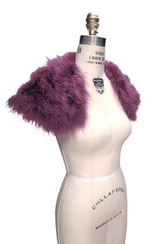 The Parisian Luxury Ostrich Vintage Feather Shrug Wrap - Amethyst