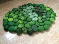 Filzsteinteppich supersoft 3D grün von flussdesign auf Etsy