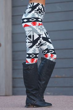 Tribal print, full length, leggings with an elastic waist.Black, white, grey and red.