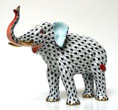 "Herend Black Fishnet Elephant ""Luck"" w Terracotta Amazing Colors BNIB | eBay"