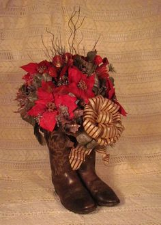WESTERN Christmas Flower  filled Cowboy Boots! Poinsettias Red, Browns, Gold and Coppers!