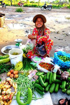 Le marché aux poissons de Kampot, Cambodge